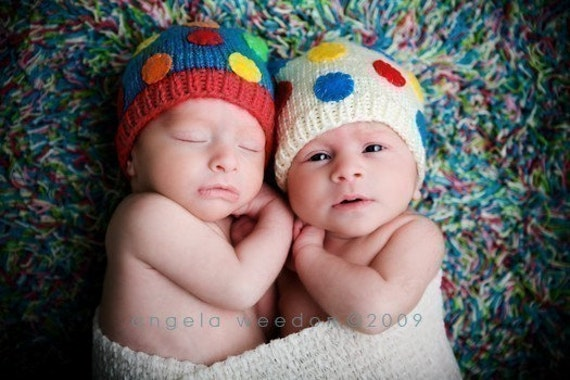 POLKA BABY TWIN BEANIES Newborn Size-MADE TO ORDER