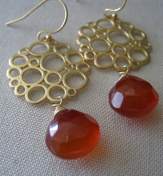 REDUCED-Bubble drop Earrings--Orange chalcedony