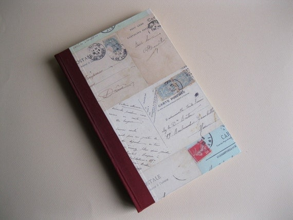 Romantic Vintage Postcard Hardback Journal -- Red Spine