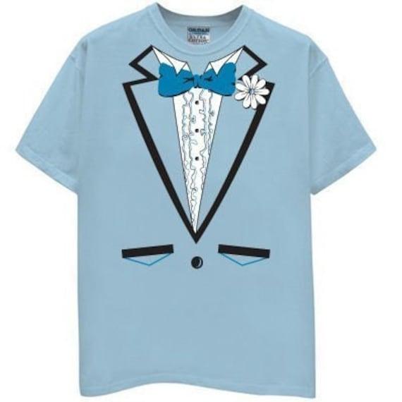 LIGHT BLUE TUX TUXEDO T SHIRT vest bow suit tie vintage prom