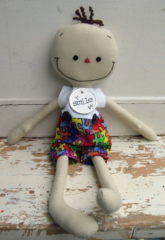 Autism Awareness cloth rag boy doll handmade