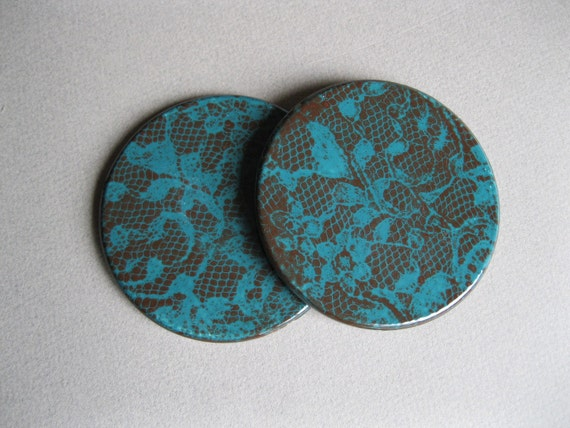 Set of 2 Round Teal and Brown Lace Coasters