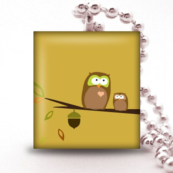 Scrabble Tile Pendant - TWO OWLS ON A BRANCH - Buy 2 Pendants Get 1 Free