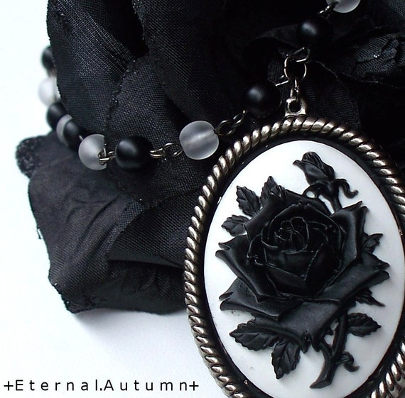 G h o s t. o f. A. R o s e. ...a very Tim Burton esque Rose Cameo Necklace - Holiday FREE SHIPPING Etsy Promo