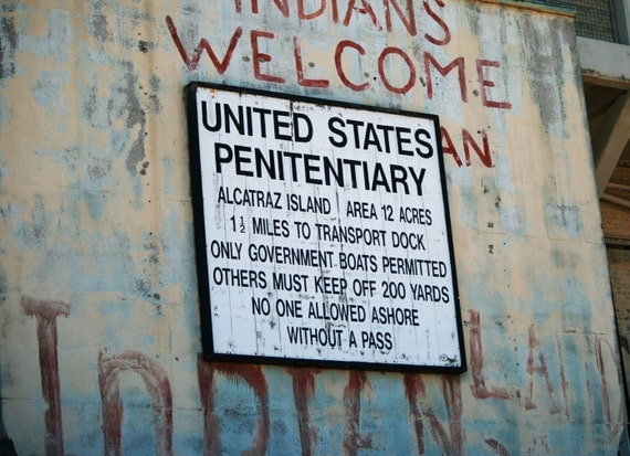 Old Alcatraz (Prison) Island Sign - Fine Art Photograph - 8x10 Free Shipping