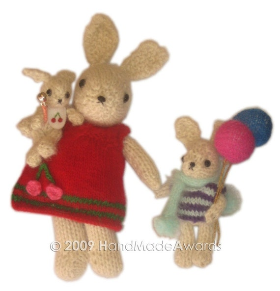 AMAZING BABY BUNNY WITH HIS CARRIAGE AND HIS BROTHER WITH BALLOONS POCKET FRIEND PDF EMAIL KNIT PATTERN BY HandMadeAwards