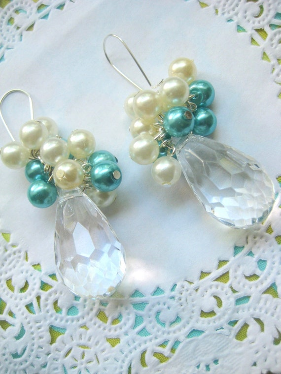 Turquoise and Ivory cluster with teardrop earring