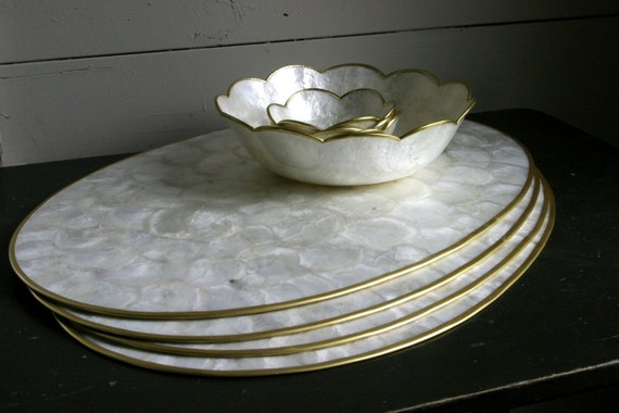 Vintage Capiz Shell Placemats and Bowls