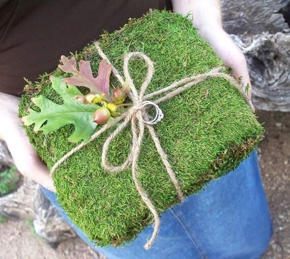 Fall Leaf Moss Wedding Ring Bearer Pillow
