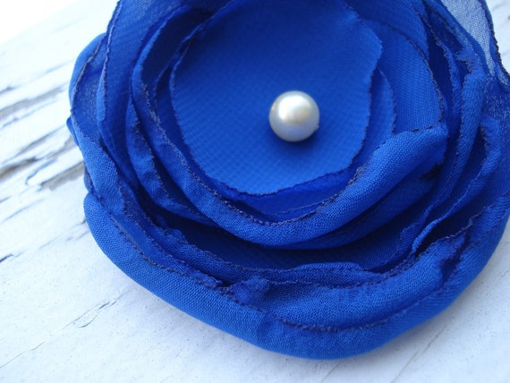 Miss Kate- royal Blue Flower hair clip and brooch