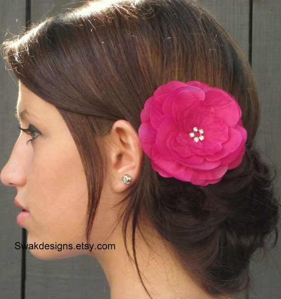 Fuschia Pink Silk Peony Hair Comb - Bridal - Special Events Comb - Handmade