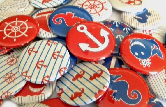 25 Nautical Large Flat Back Buttons
