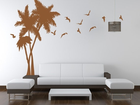 وینیل دیوار Decals هنر نخل درخت نقاشی دیواری دیوار Seagulls پرندگان