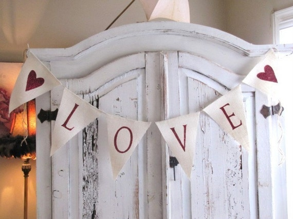 LOVE red glittered cream burlap banner