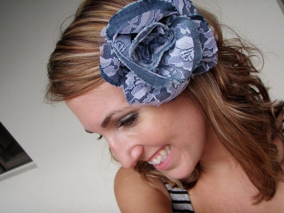 Denim and Lace Rose Brooch