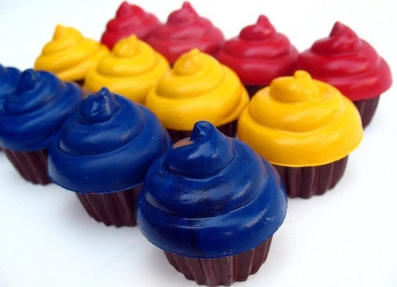 Recycled Crayon Cupcakes - Set of 12 Red, Yellow, Blue Primary colors