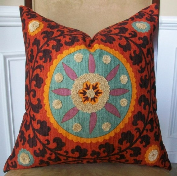 NEW- DECORATIVE DESIGNER PILLOW COVER - 20x20 - SUZANI TRIBAL THREAD SUNSET MEDALLION EMBROIDERY, FEATURED ON ETSY FRONT PAGE