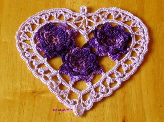 Lavender HEART with 3D Purple ROSES, Irish Crochet, Trinket, Doily, Applique, Fiber Art