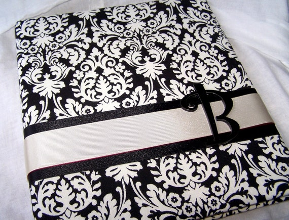 WEDDING MEMORY BOOK Black and Ivory Damask Scrapbook Style Custom