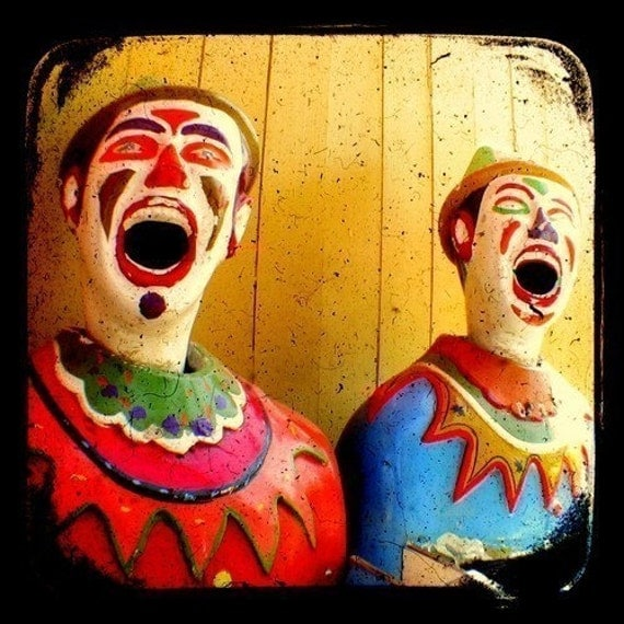 Clowns Carnival Photography Print 4 x 4 TTV Red Blue Mustard Vibrant Colored Wall Art