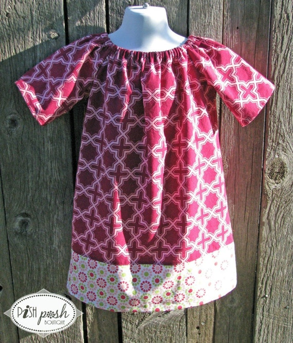 Girls Peasant Dress- size 4- READY TO SHIP- tunic- shirt