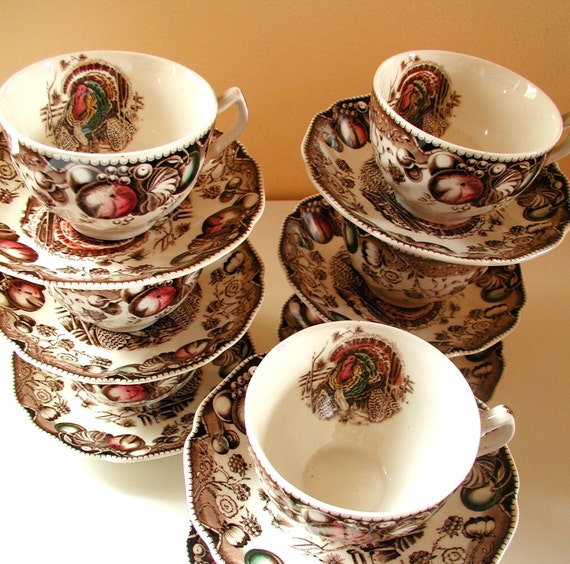 Thanksgiving Cups and Saucers in His Majesty pattern by Johnson Brothers, in warm harvest tones , with  a Turkey motif, by Studio Tullia on Etsy.