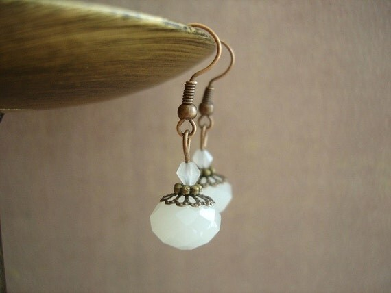 Snow White Frosted White Bead Earrings