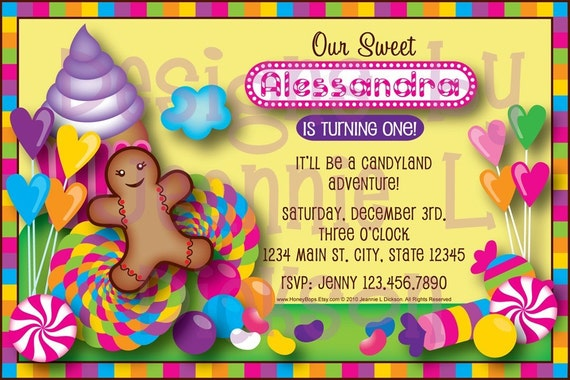 Candyland Birthday Baby Shower Customizable Digital by HoneyBops