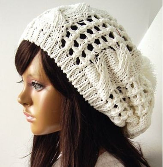 Amazing Hand knitted white beanie wool hat with pompom