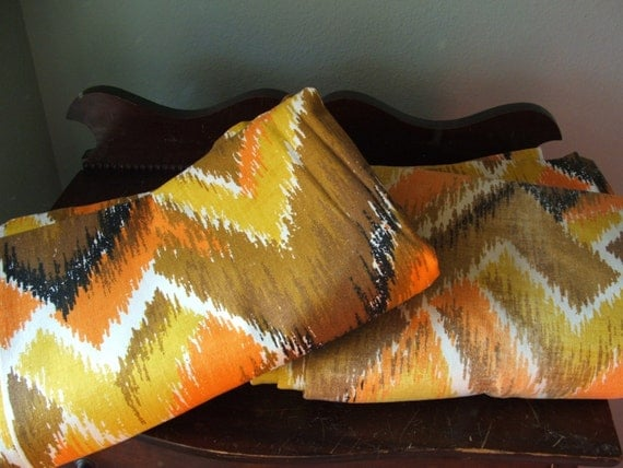 Long 1970s Chevron Curtain Panels in Orange, Gold and Black