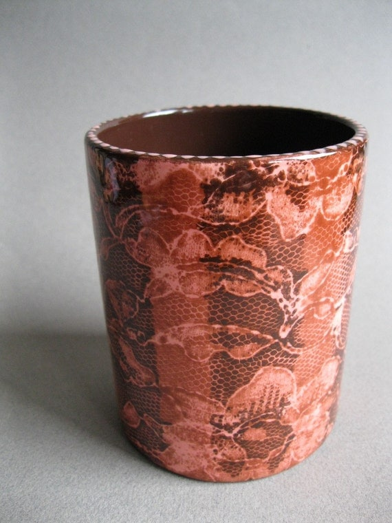 Brown Stripe and Peach Lace Ceramic Pencil Cup