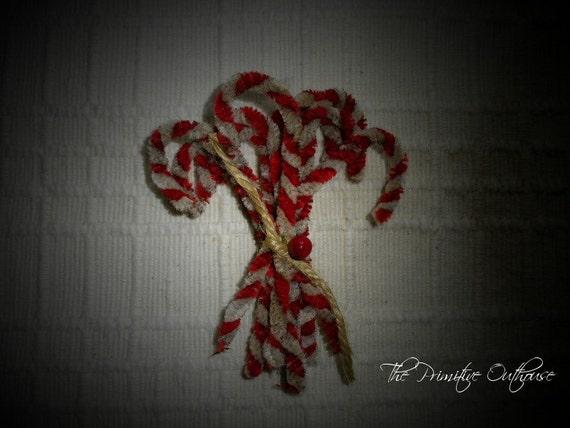 Primitive Chenille Candy Cane Ornaments