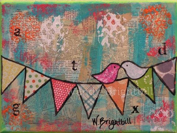 Love Birds Banner 16 x 20