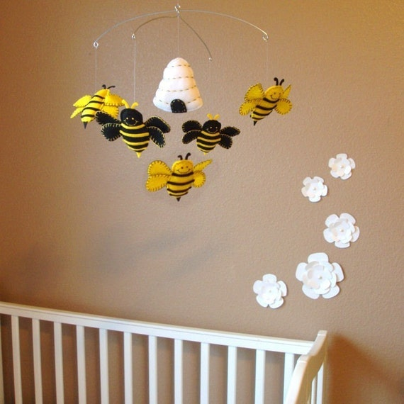 Bumble Bee and Beehive Baby Mobile - Custom Felt Colors Available
