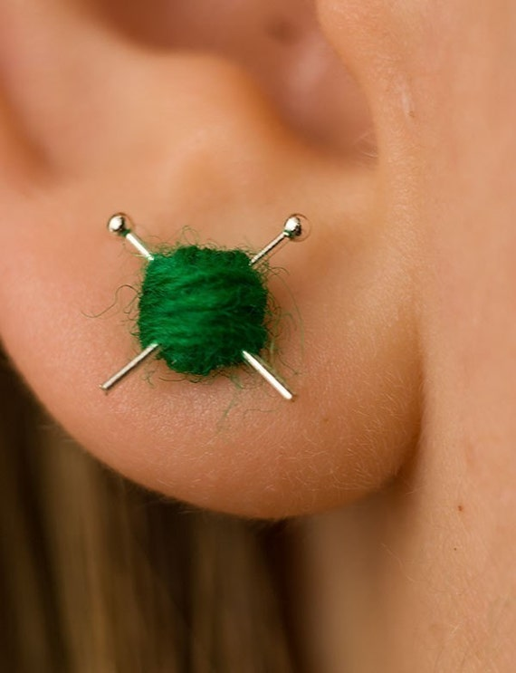 Вязание уха шпильки - синий вязать серьги