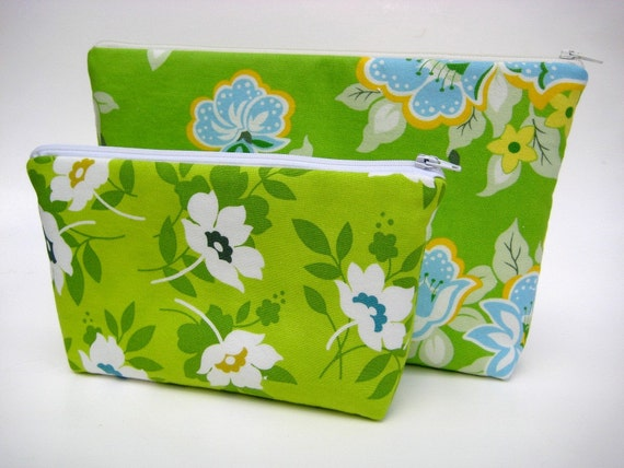 Overnighter Cosmetic Pouch in Blue Green Church Flowers