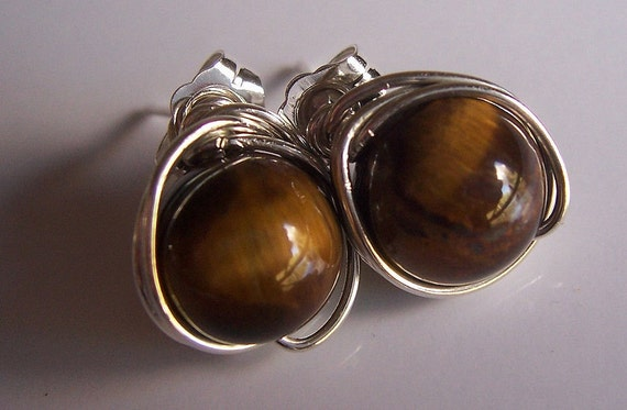 Tiger Eye and Sterling Silver Earrings