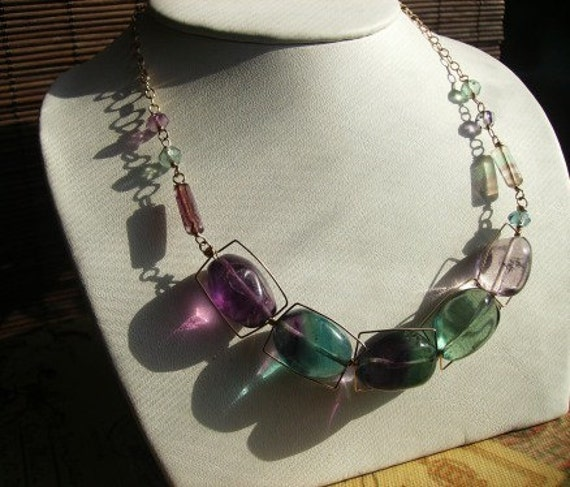 Blue Green and Purple Fluorite Gold Filled Necklace by jazjewelz from etsy.com