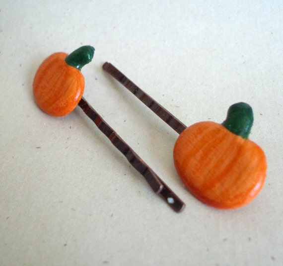 SALE - Pumpkin Hair Pins - Upcycled - Eco-Friendly