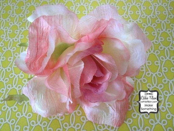 Большая роза цветок - мягкий розовый ребенка - Дамских, Измененные Couture, волос Цветы, Шелковый