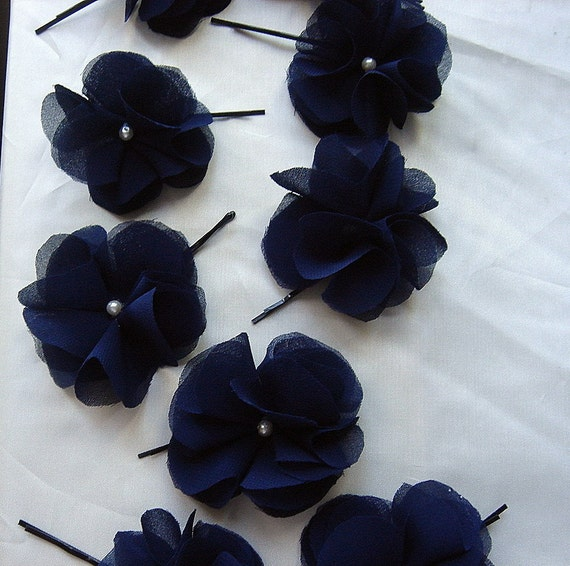Organza Chiffon Silk Flower Hair Clip or Brooch CHOOSE YOUR COLOR Set of 2