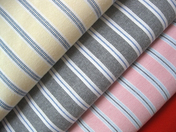 Zakka Nautical Country Pink Yellow Black Colorful Stripes Fabric Cloth Set 3's 56 x 19  inches Each