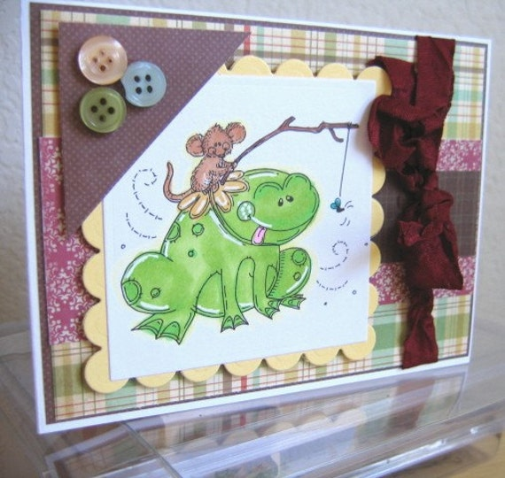 SWEET FROG AND FRIEND HANDMADE CARD