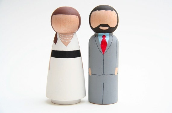 The Original - Custom Peg Doll Wedding Cake toppers by Goose Grease - wooden dolls
