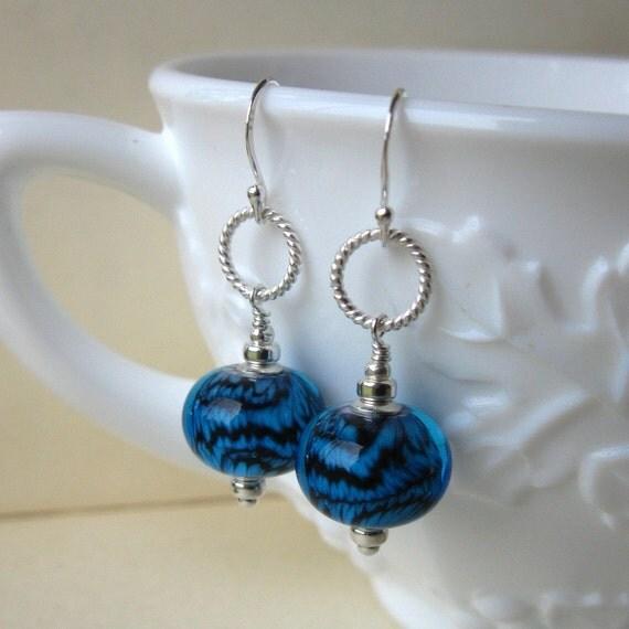 Midnight static Lampwork earrings