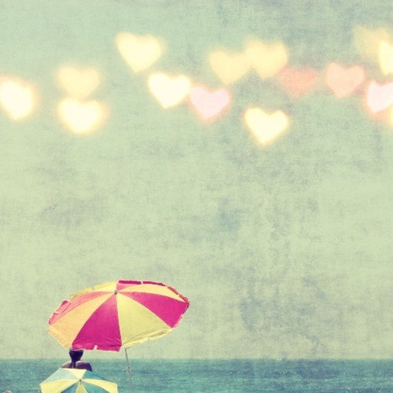 Sun Worship - Fine Art beach Photography -  umbrella - heart bokeh