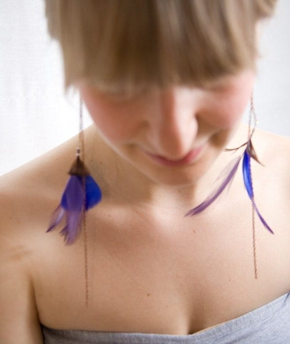 Juliette - Feather and Chain Earrings