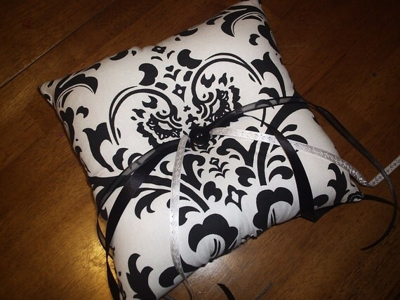 Waverly Black and White Damask Ring Bearer Pillow