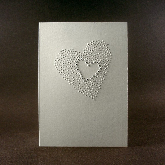 Two Hearts Beat as One- Love Cards, handmade, white, 3x5