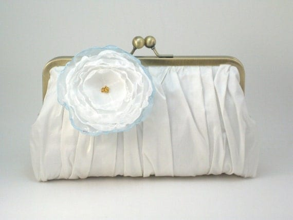 Pretty Pleats Clutch - Ivory with flower